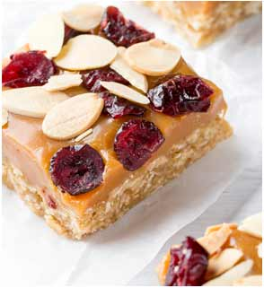 Caramel and Cranberry slice
